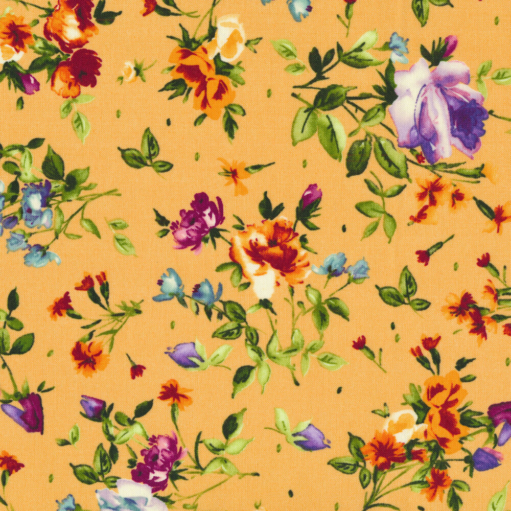 Tossed purple flowers with green stems on a light orange background