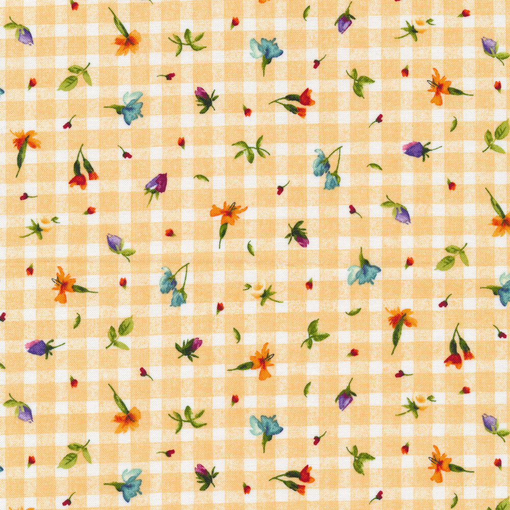 Light orange and white gingham fabric with tossed florals