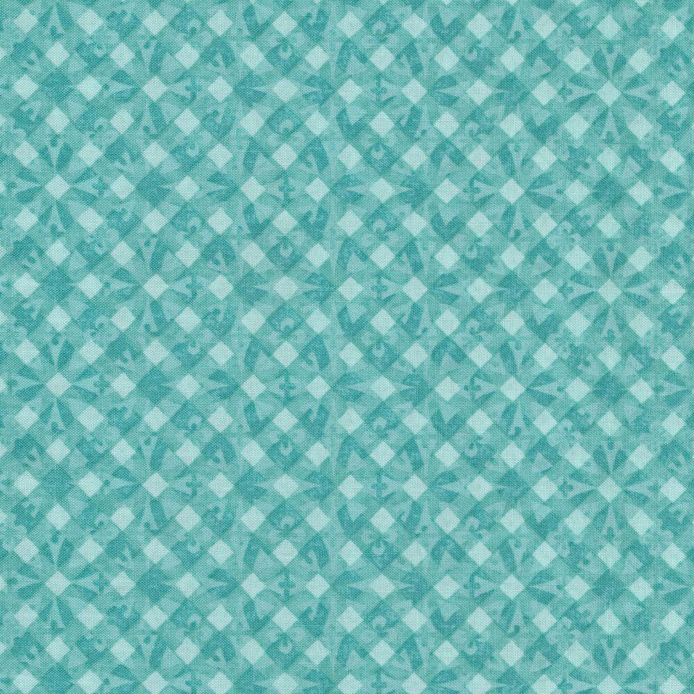 Tonal teal geometric diamond print