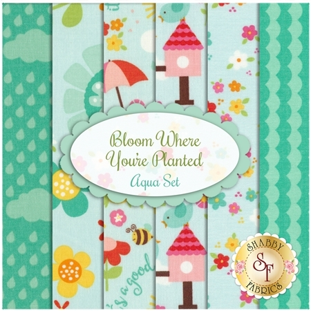 Bloom Where You're Planted  6 FQ Set - Aqua Set by Riley Blake Designs