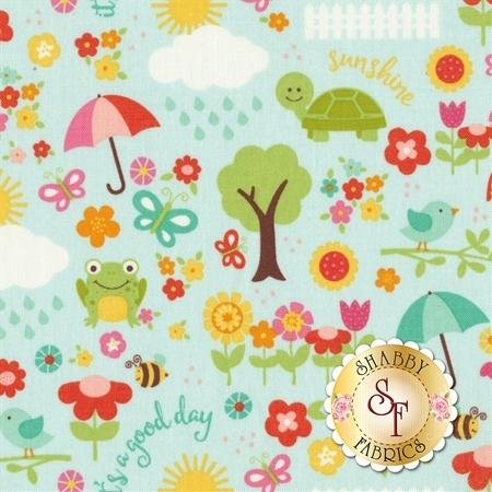 Bloom Where You're Planted C6851-AQUA by Riley Blake Designs