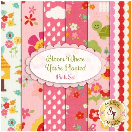 Bloom Where You're Planted  6 FQ Set - Pink Set by Riley Blake Designs