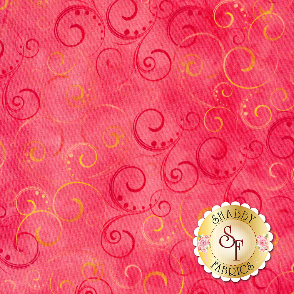 Pink and yellow swirls and scrolls on mottled pink | Shabby Fabrics