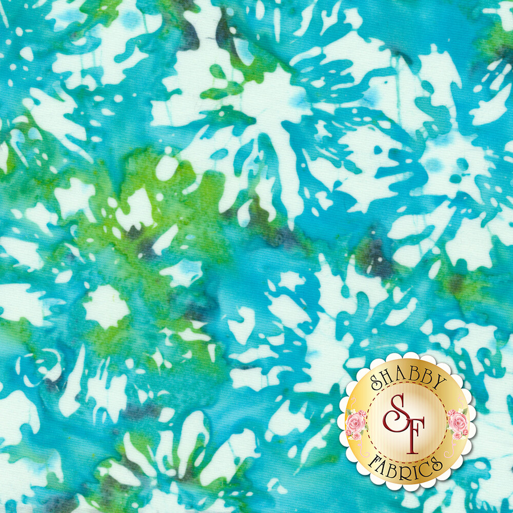 Blossom Batiks Splash 3506-001 Daisies Turquoise by Flaurie & Finch for RJR Fabrics