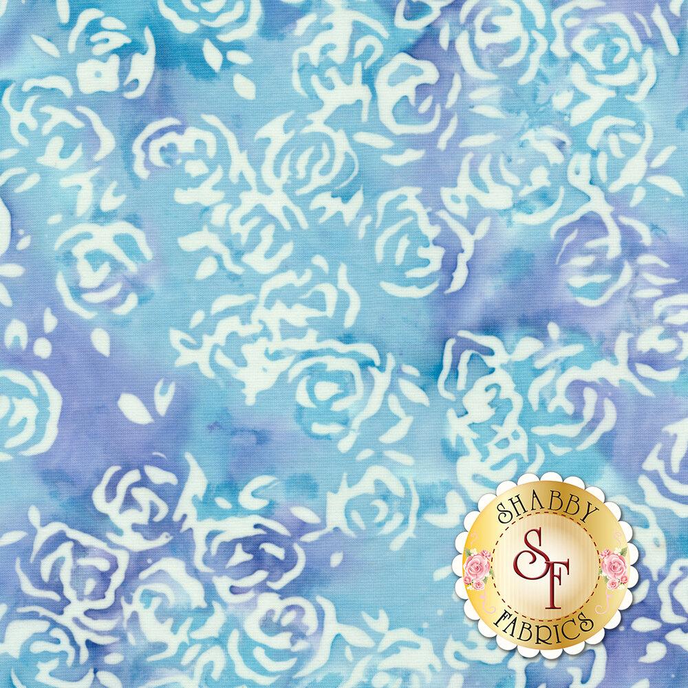 Blossom Batiks Splash 3507-002 Rosie Posie Aquamarine by Flaurie & Finch for RJR Fabrics