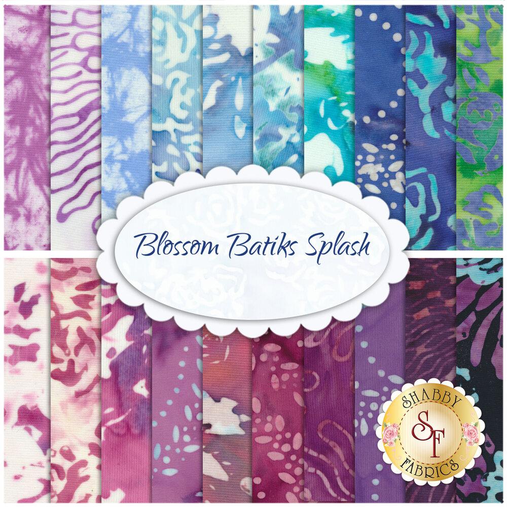 Collage of fabrics included in Blossom Batiks Splash set | Shabby Fabrics
