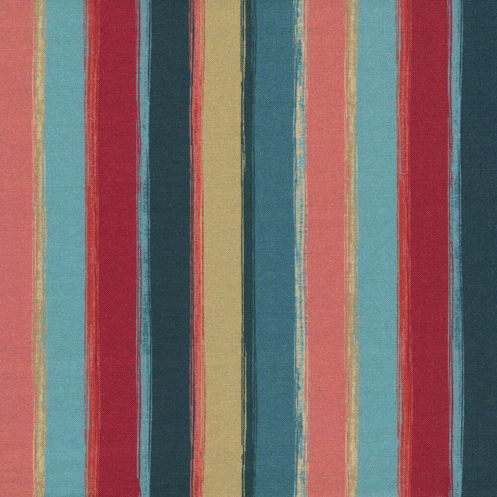 Blue, pink, red, and tan striped fabric | Shabby Fabrics