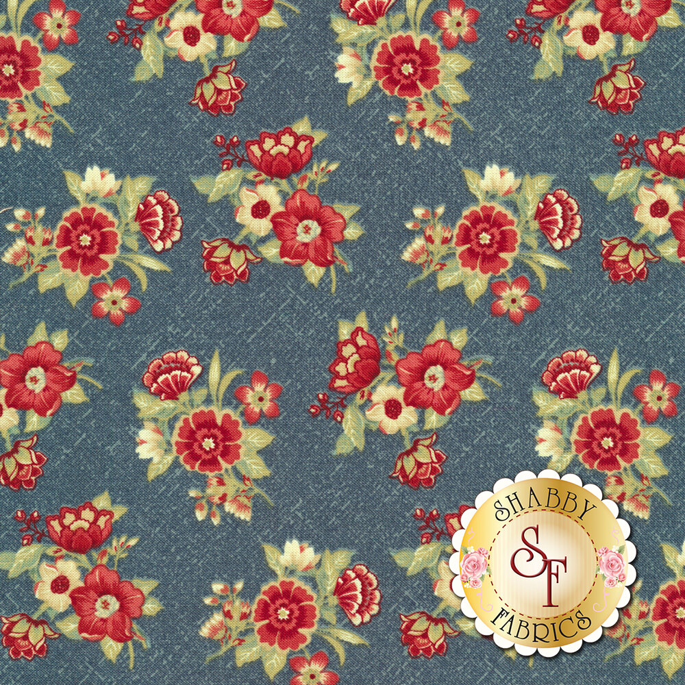 Red and tan floral bouquets tossed on blue | Shabby Fabrics