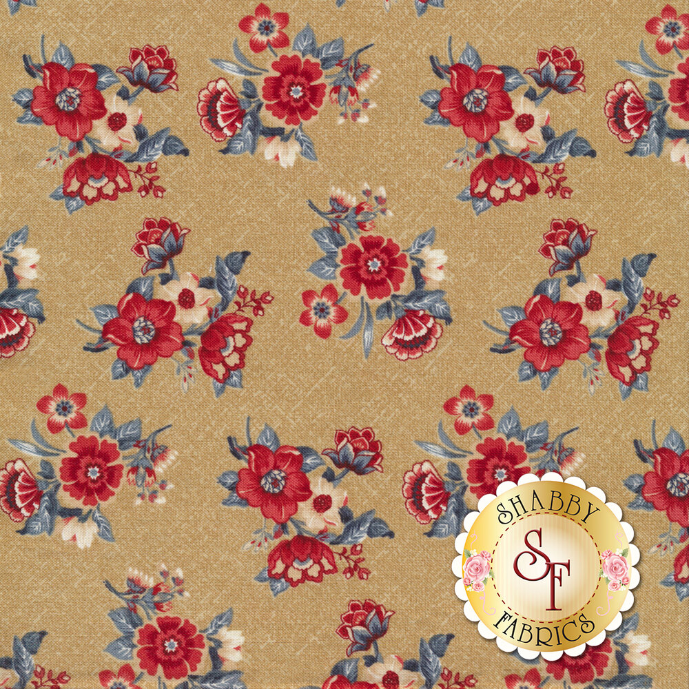 Red and blue floral bouquets tossed on tan | Shabby Fabrics