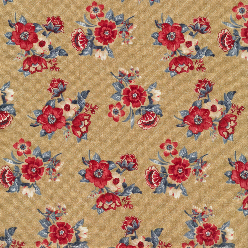 Red and blue floral bouquets tossed on tan   Shabby Fabrics