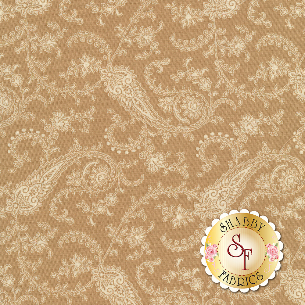 Tonal paisley design on tan | Shabby Fabrics
