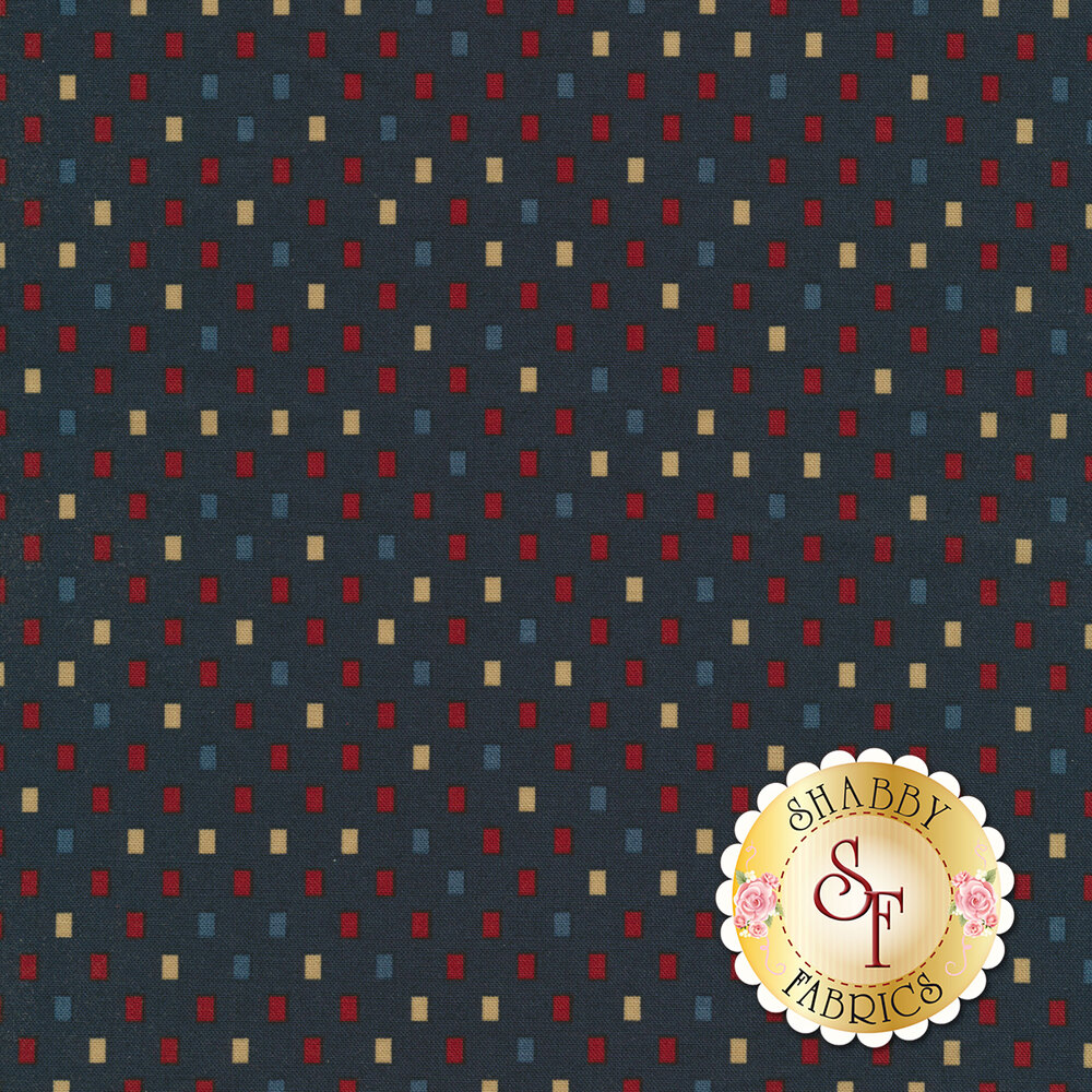 Red, blue, and tan rectangles all over blue | Shabby Fabrics