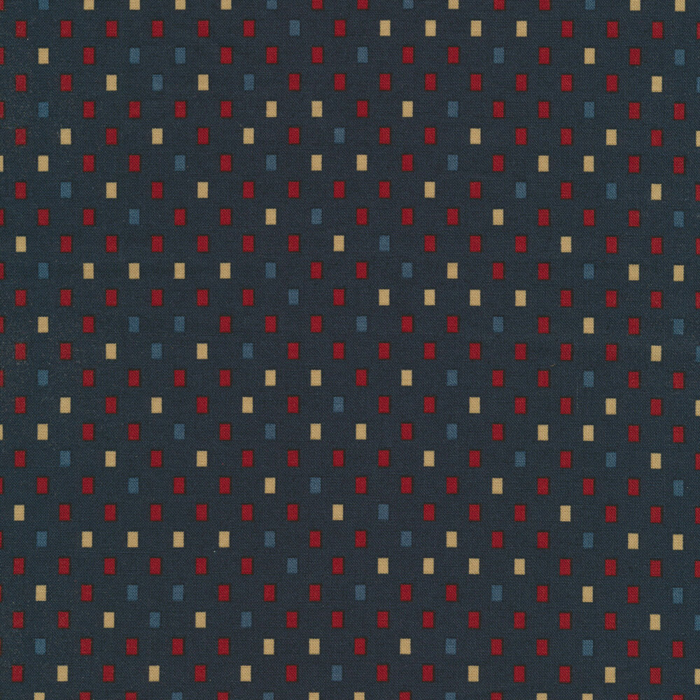 Red, blue, and tan rectangles all over navy | Shabby Fabrics