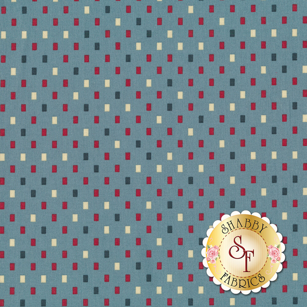 Red, blue, and tan rectangles all over light blue   Shabby Fabrics