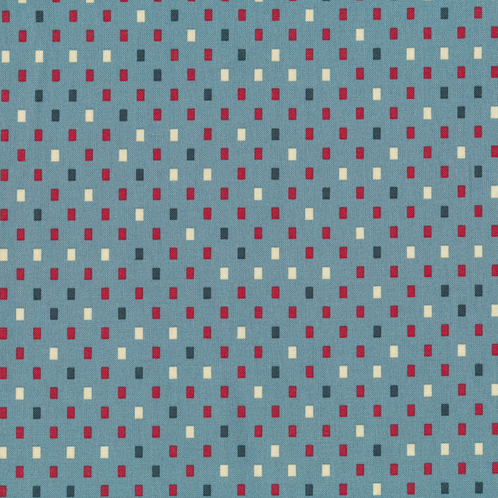 Red, blue, and tan rectangles all over light blue | Shabby Fabrics