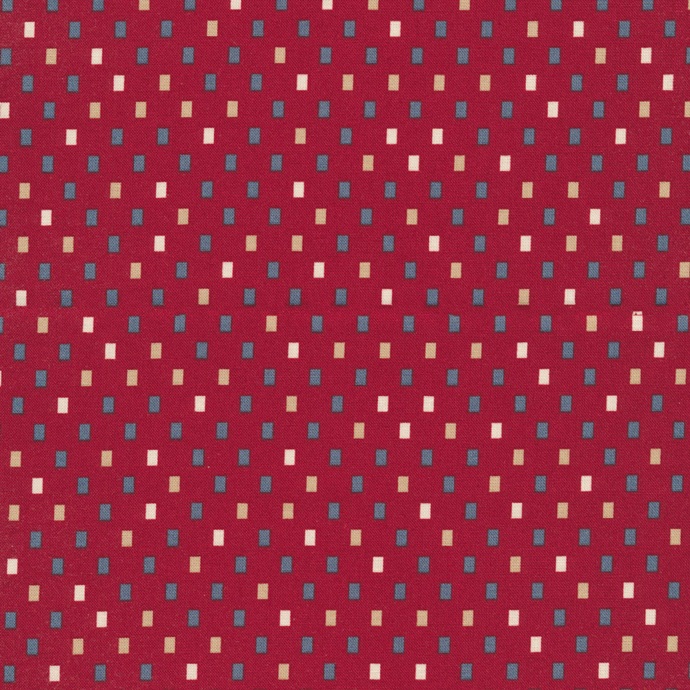 Blue, tan, and cream rectangles all over red | Shabby Fabrics