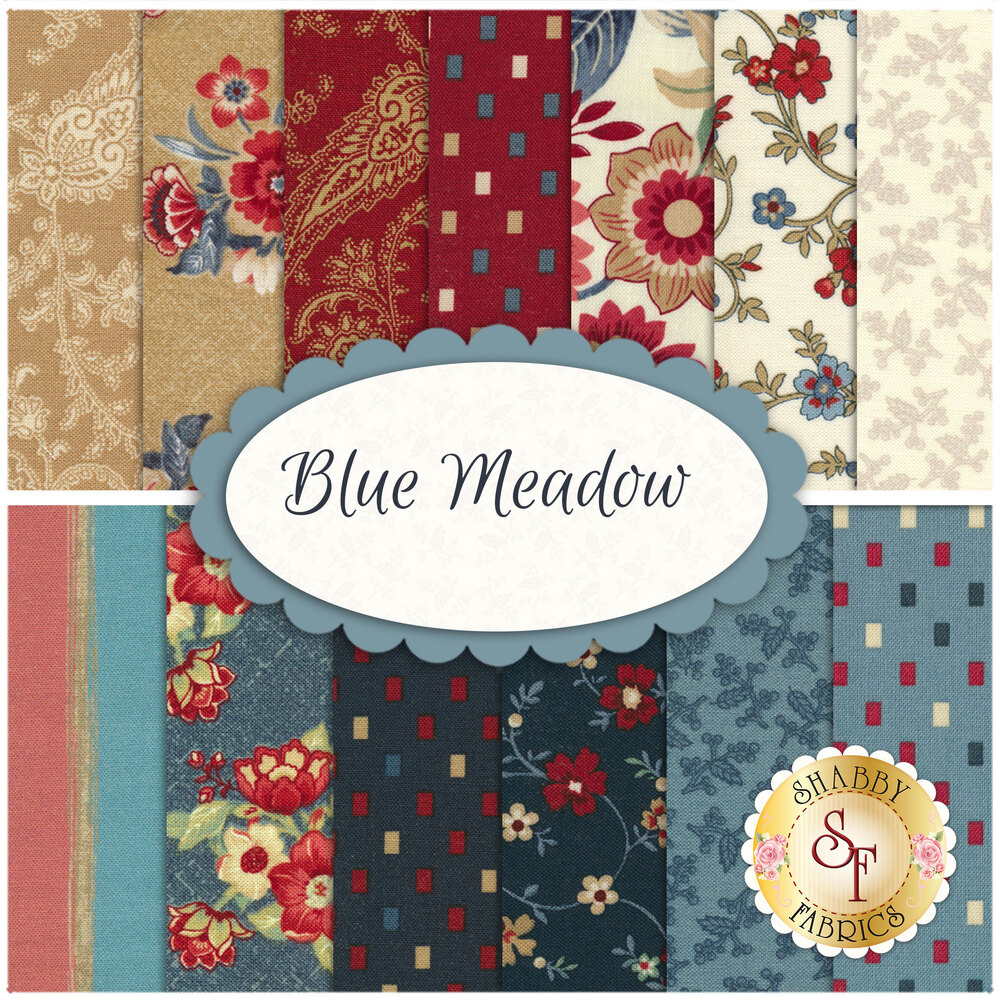 Collage of fabrics included in Blue Meadow | Shabby Fabrics