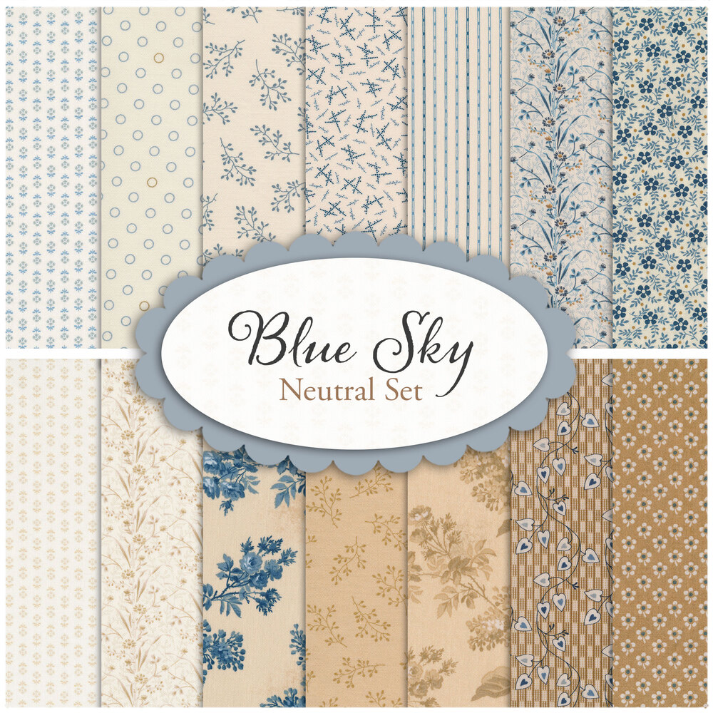 Blue Sky 14 FQ Set - Neutral Set by Edyta Sitar for Andover Fabrics