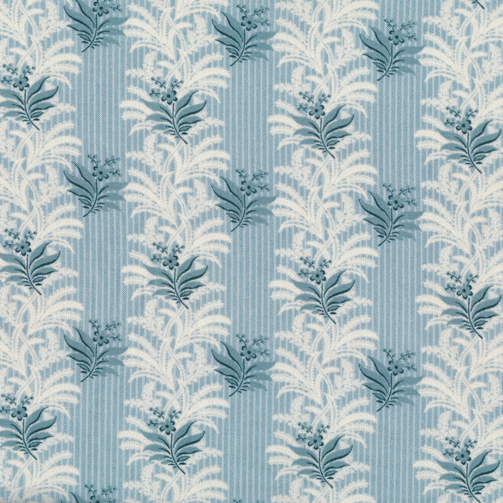 Columns of cream and blue vines and leaves on a light blue pin striped background