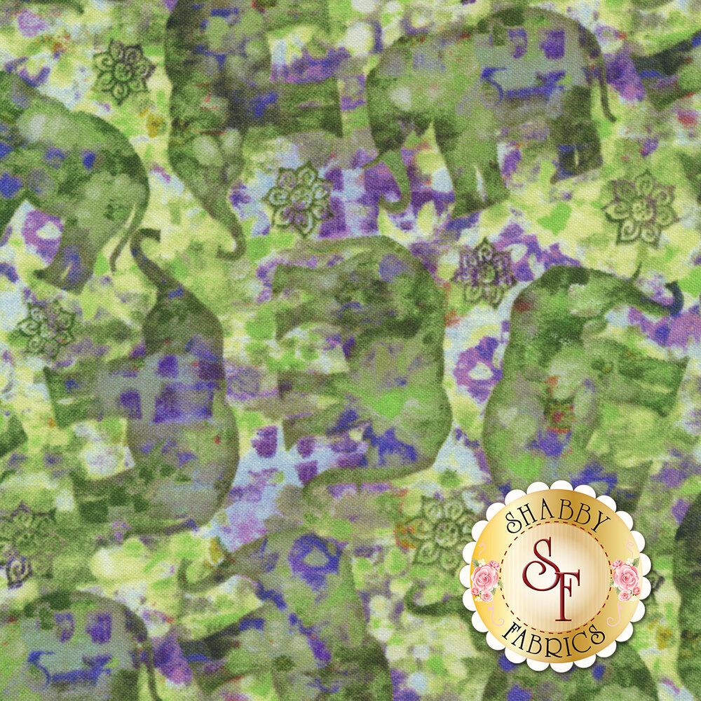 Bohemian Dreams 89192-764 Tossed Elephants Green/Purple