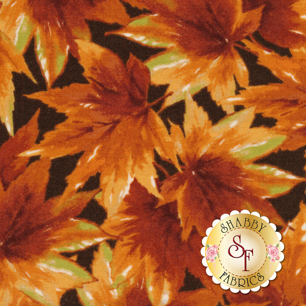 Bountiful 9302-A Deep Brown Leaves by Maywood Studio