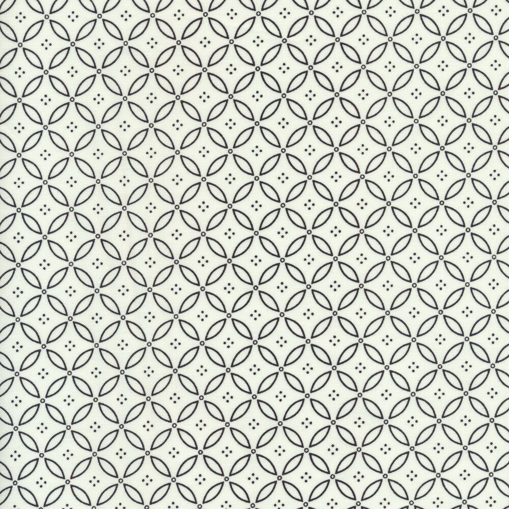 Small gray geometric leaf design all over white | Shabby Fabrics