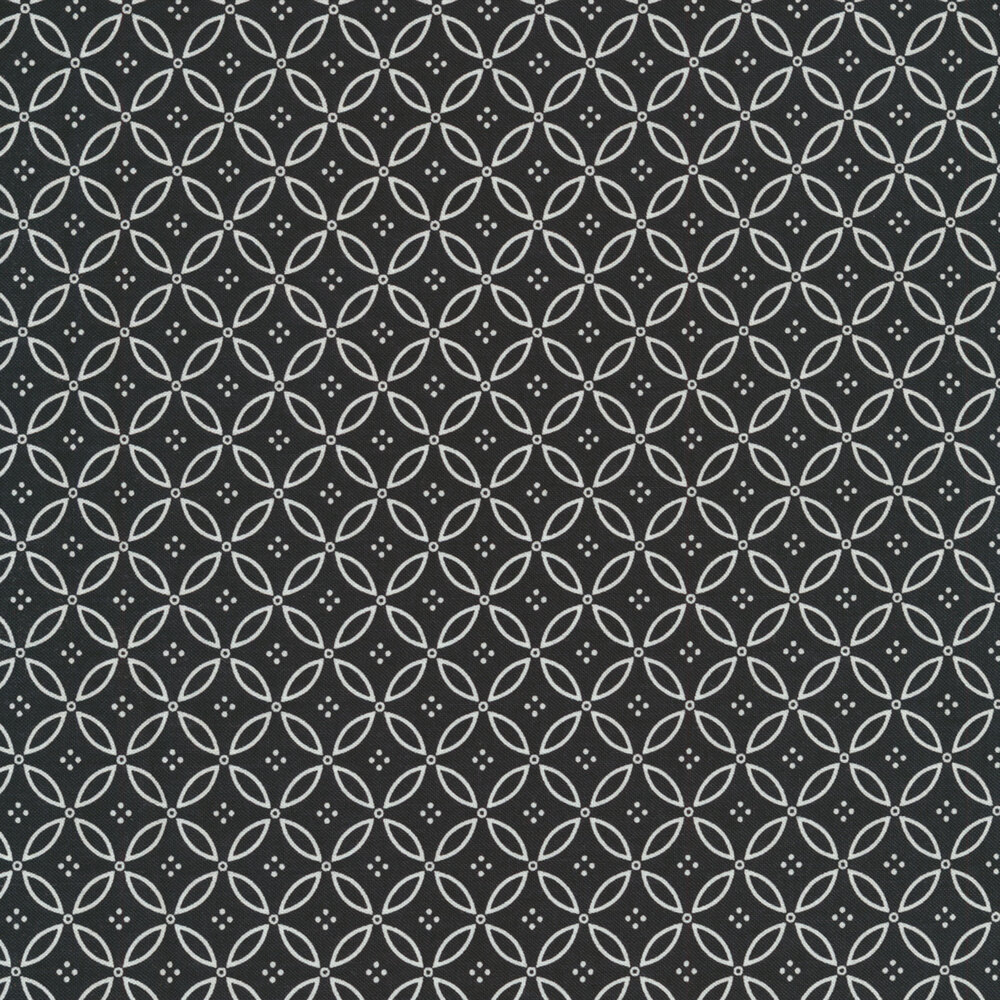 Small white geometric leaf design all over black | Shabby Fabrics