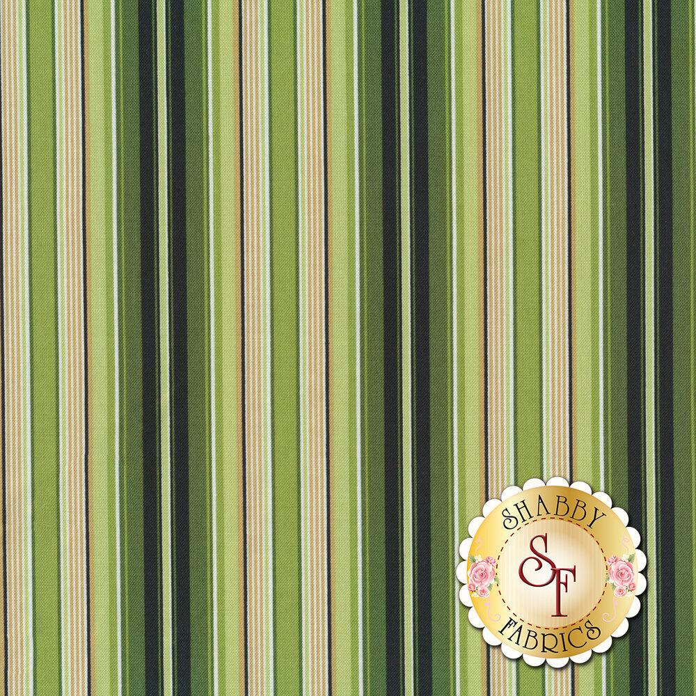 Green, black, and tan stripes | Shabby Fabrics