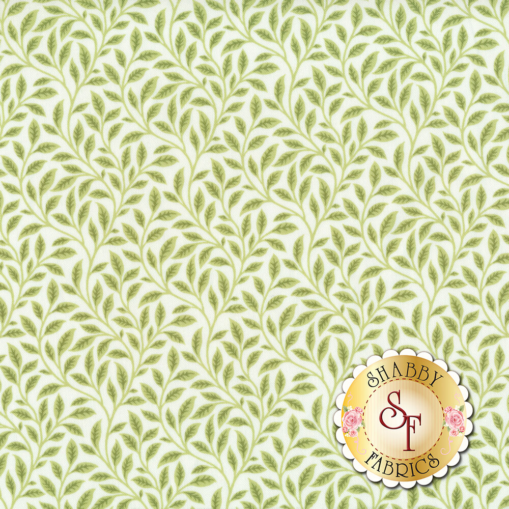 Green leaf design all over white | Shabby Fabrics