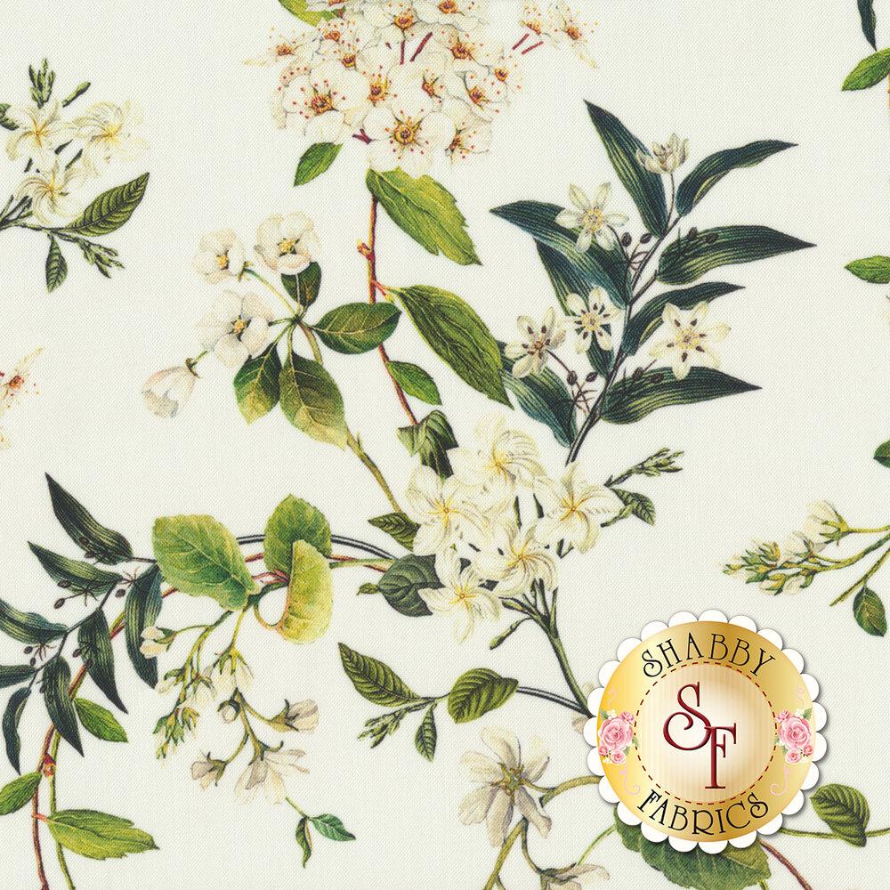 White flowers on green vines on white | Shabby Fabrics