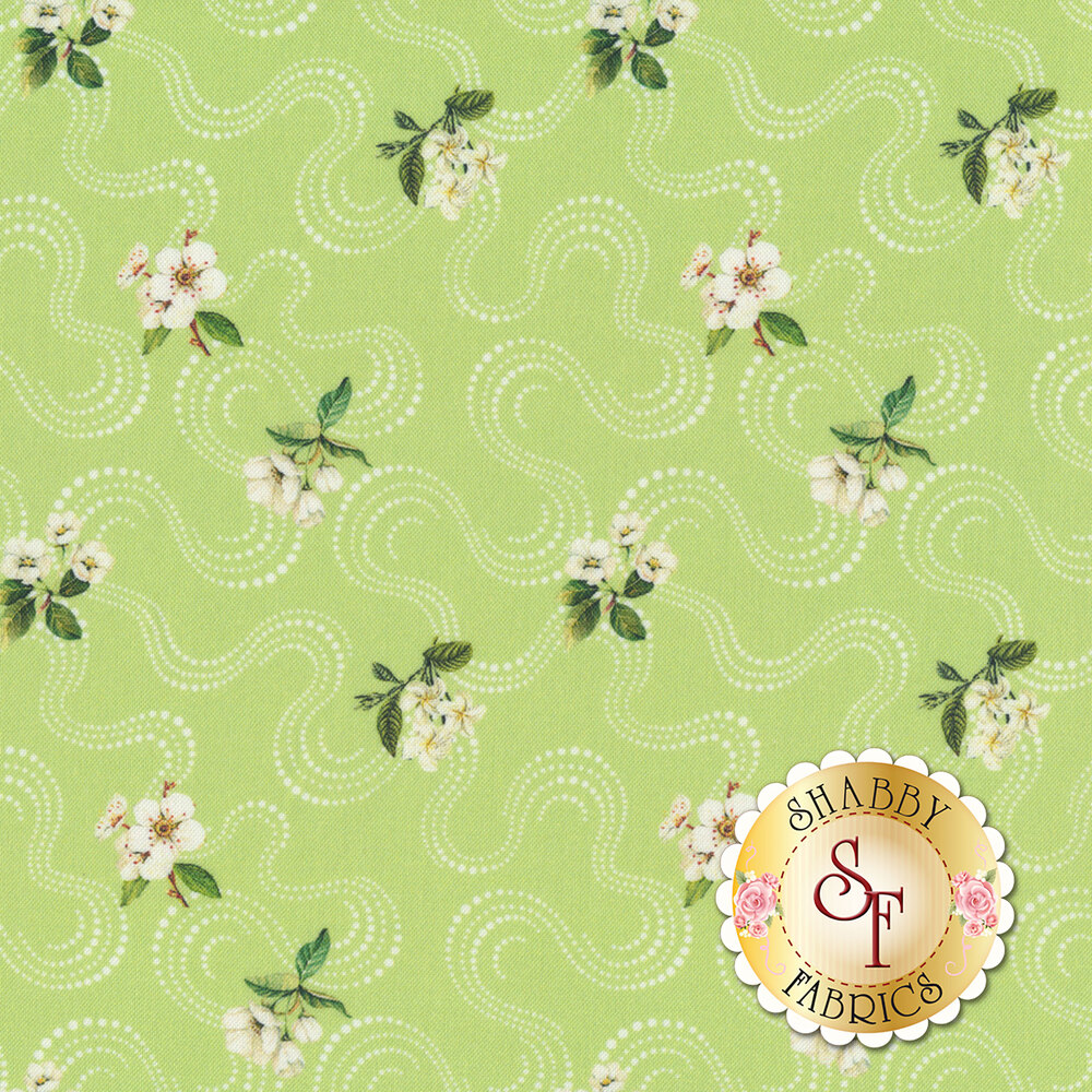 Small white flowers and swirls all over light green | Shabby Fabrics