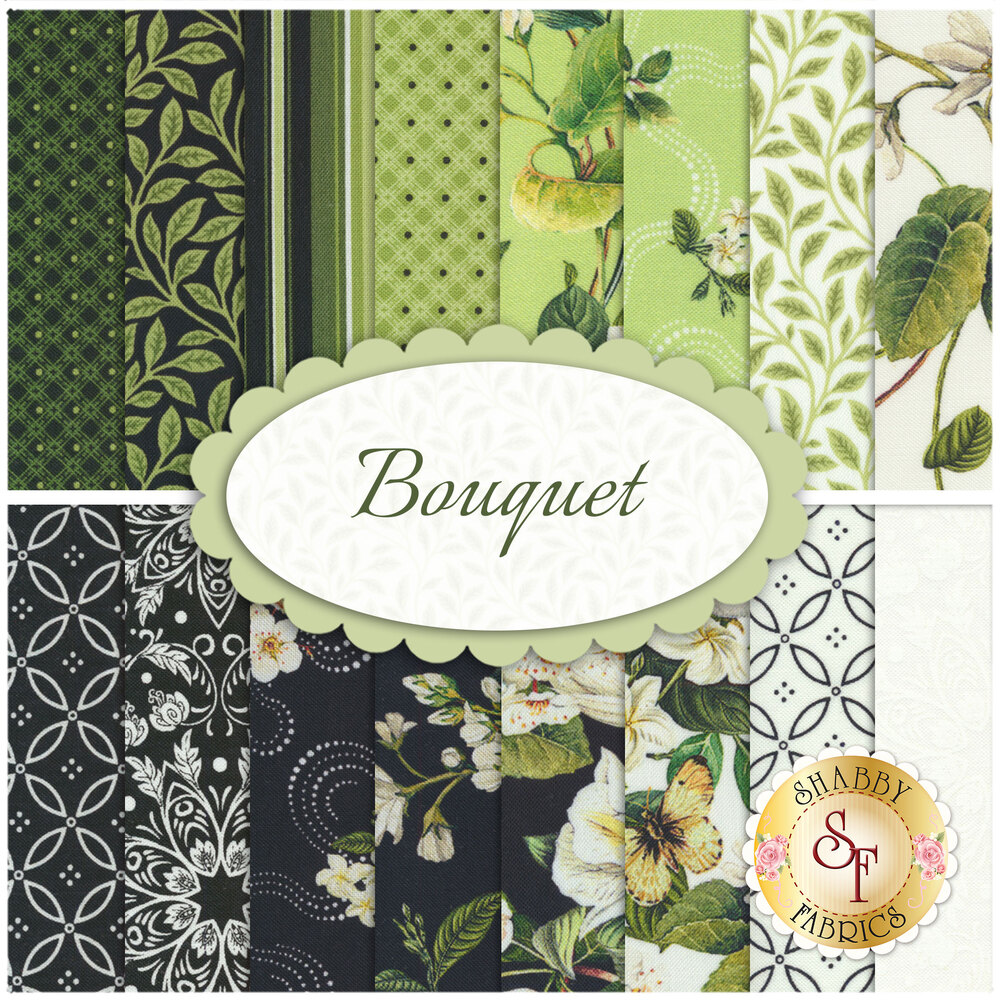 Collage of fabrics included in Bouquet FQ set | Shabby Fabrics