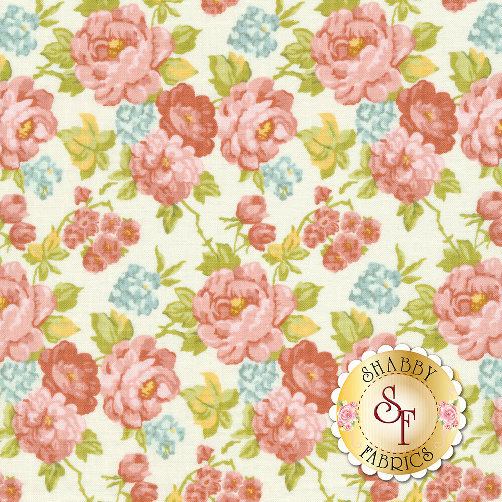 Pink and red roses all over white | Shabby Fabrics