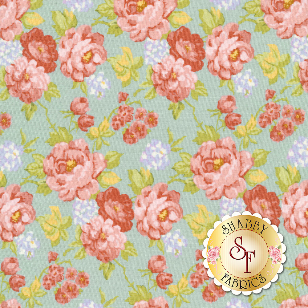 Pink and red roses all over blue | Shabby Fabrics