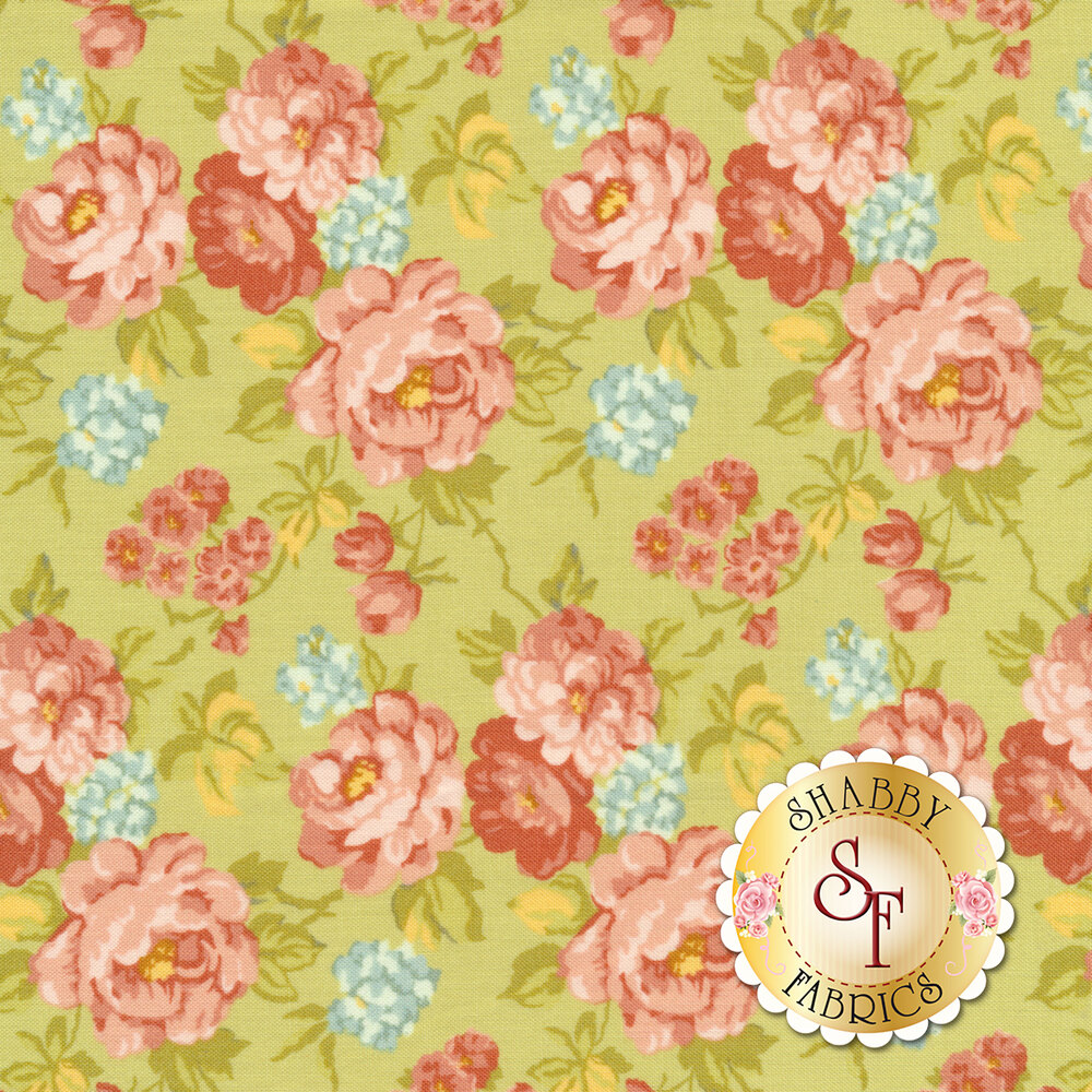 Pink and red roses all over green | Shabby Fabrics