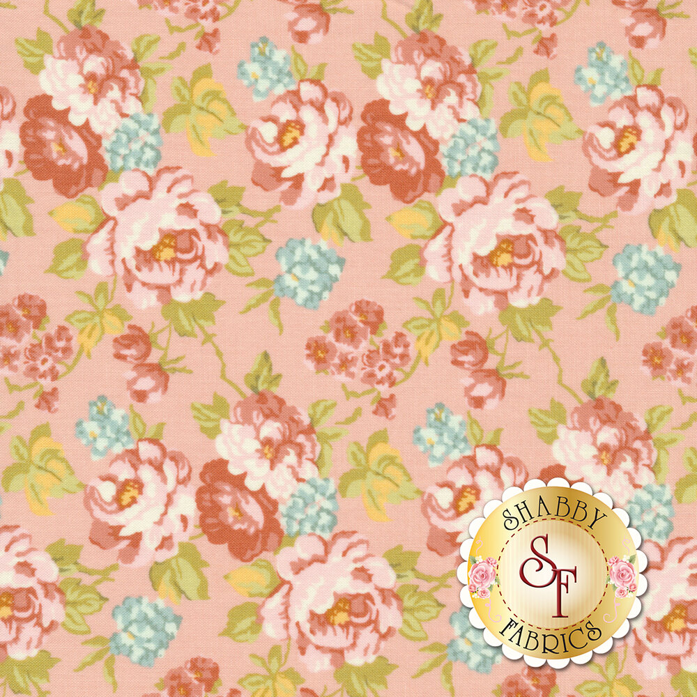 Pink and red roses all over pink | Shabby Fabrics