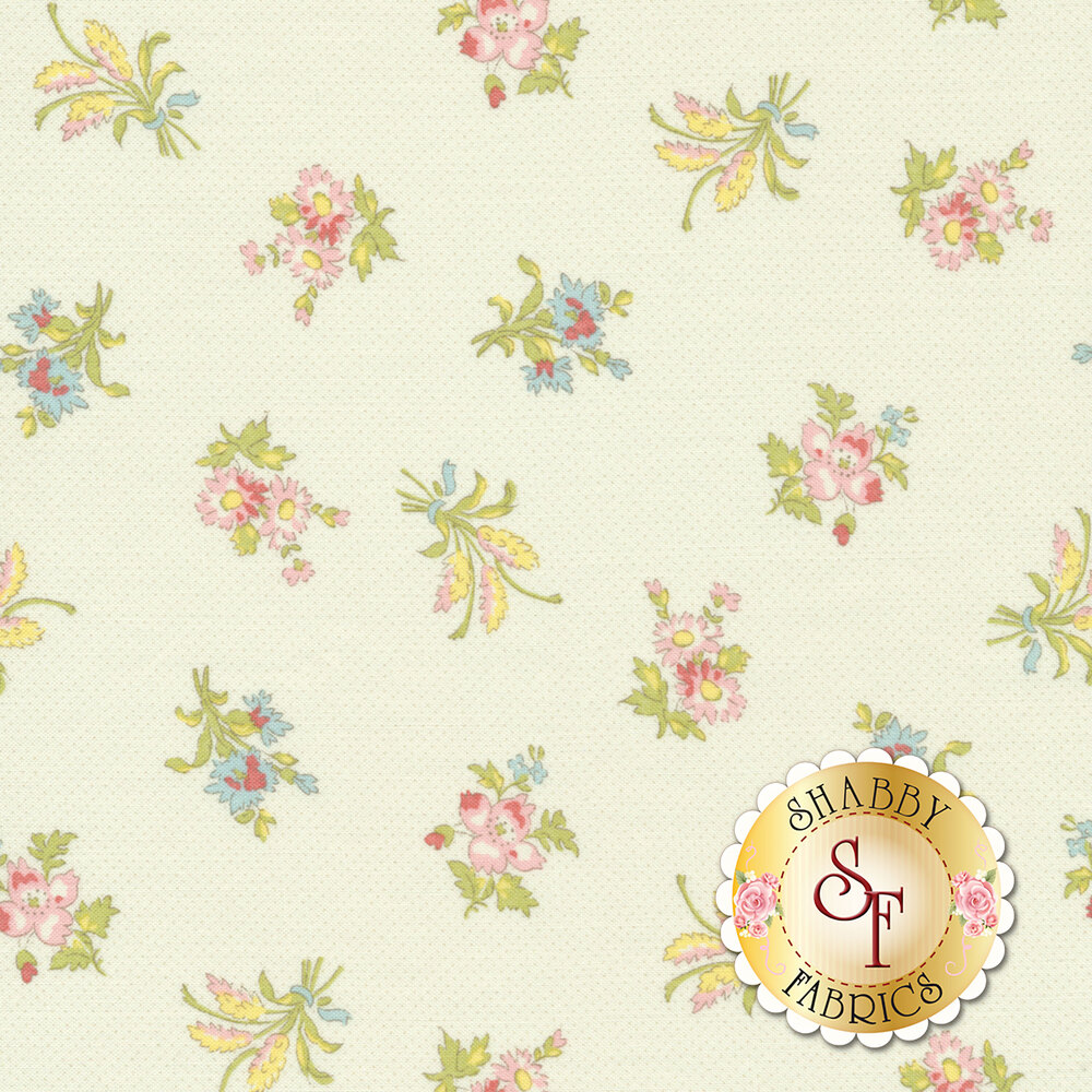 Tossed flower bouquets on white | Shabby Fabrics