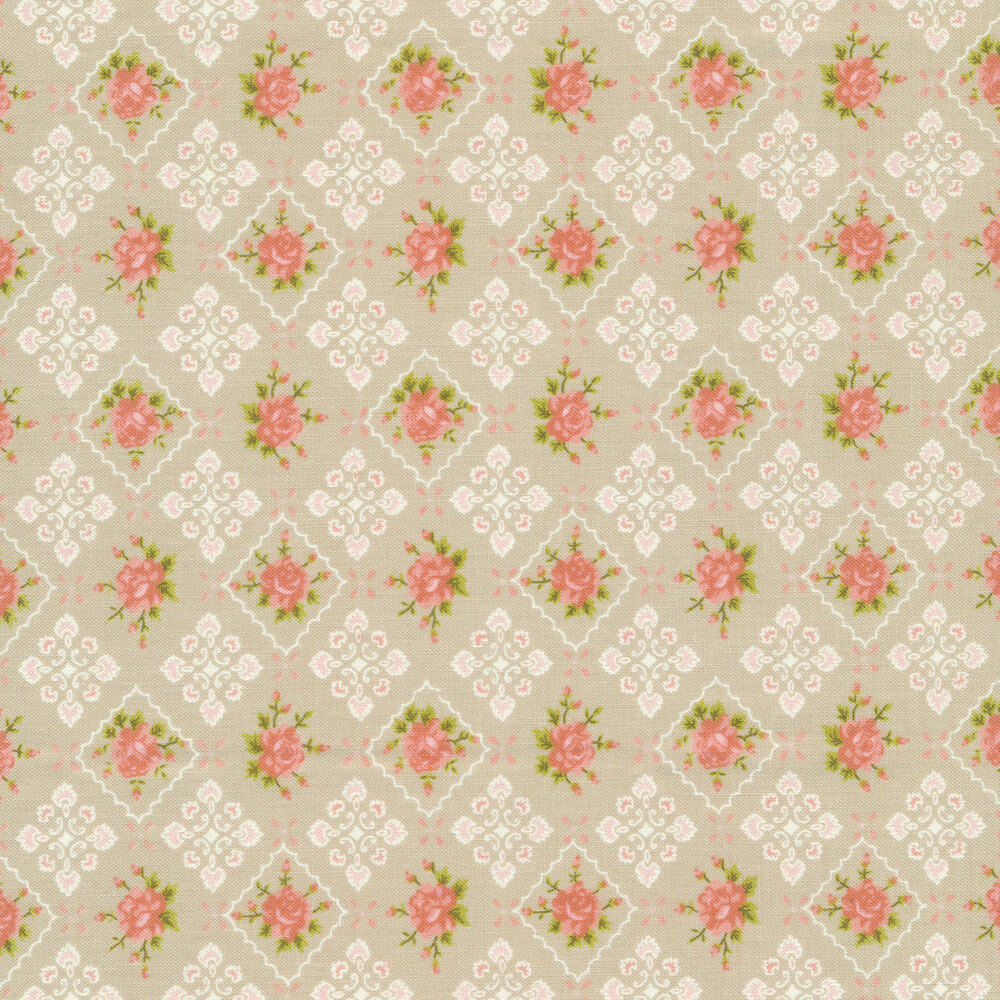 Flowers in pink tiles on tan | Shabby Fabrics