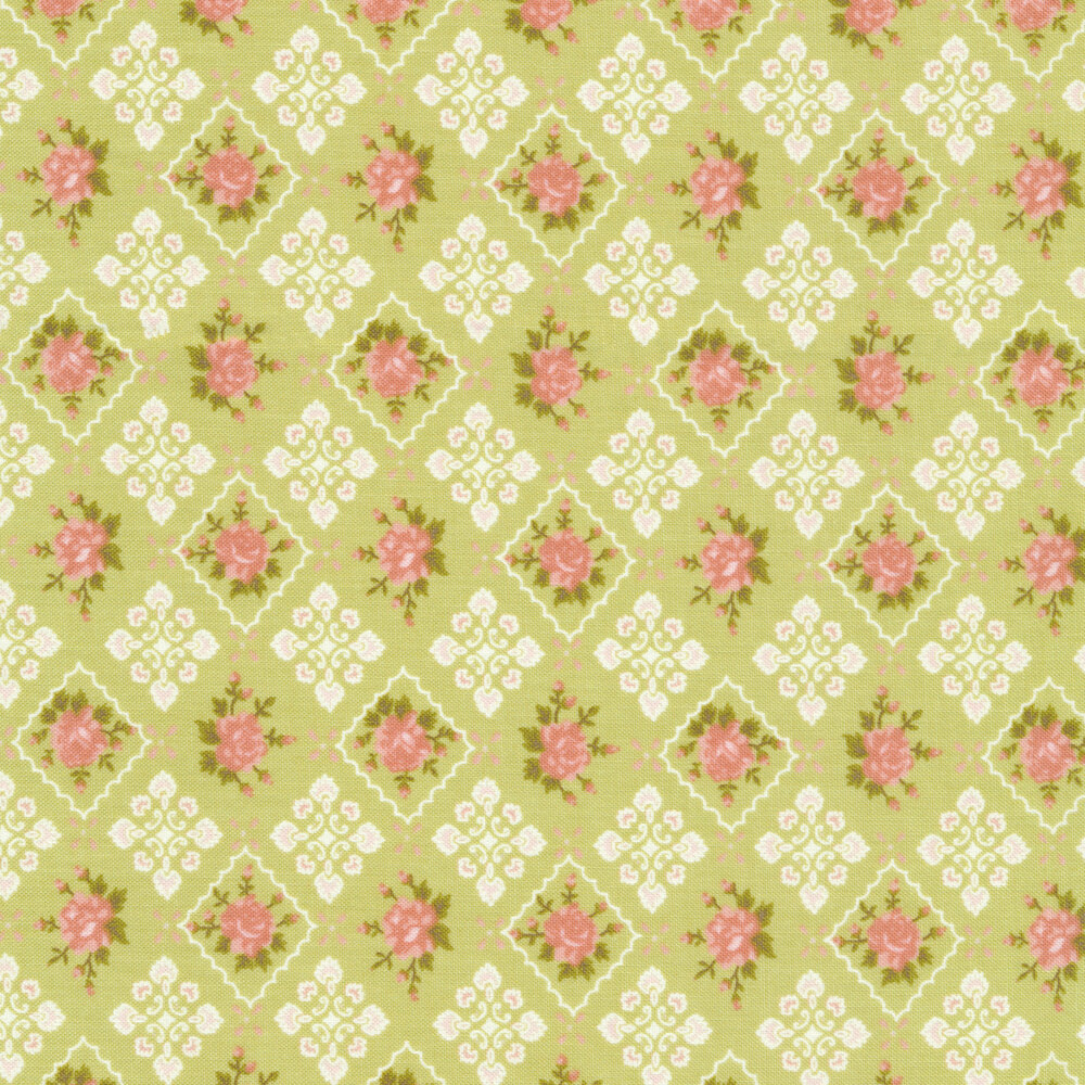 Flowers in pink tiles on green   Shabby Fabrics