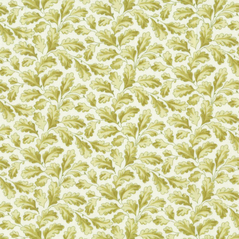 Green leaves all over white | Shabby Fabrics