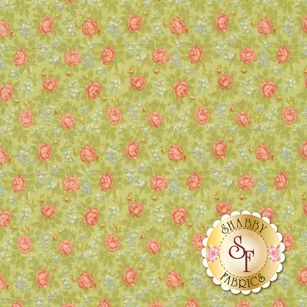 Pink roses with blue flowers and green leaves all over green | Shabby Fabrics