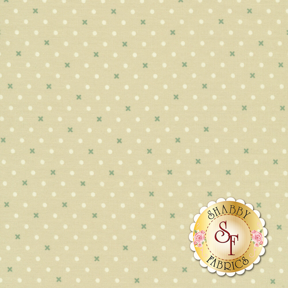 White dots and green X's on light brown   Shabby Fabrics
