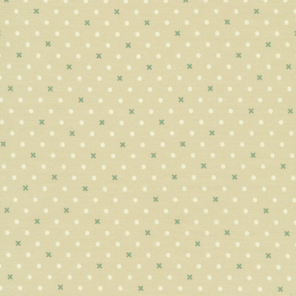White dots and green X's on light brown | Shabby Fabrics