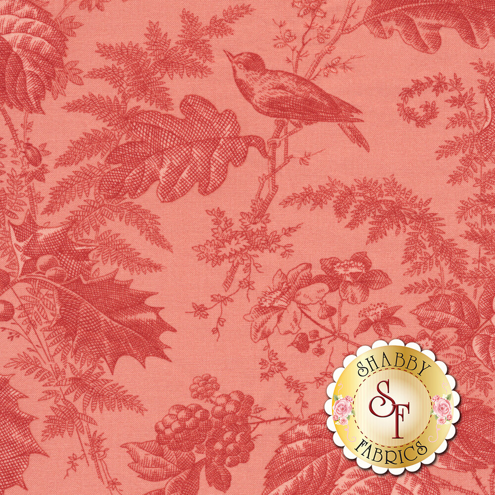Pink tonal fabric with birds, berries, and leaves | Shabby Fabrics