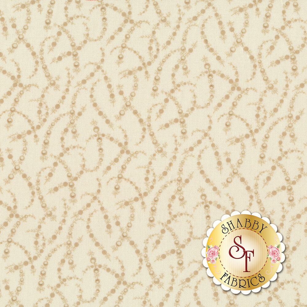 Tossed tonal garland on a cream background | Shabby Fabrics