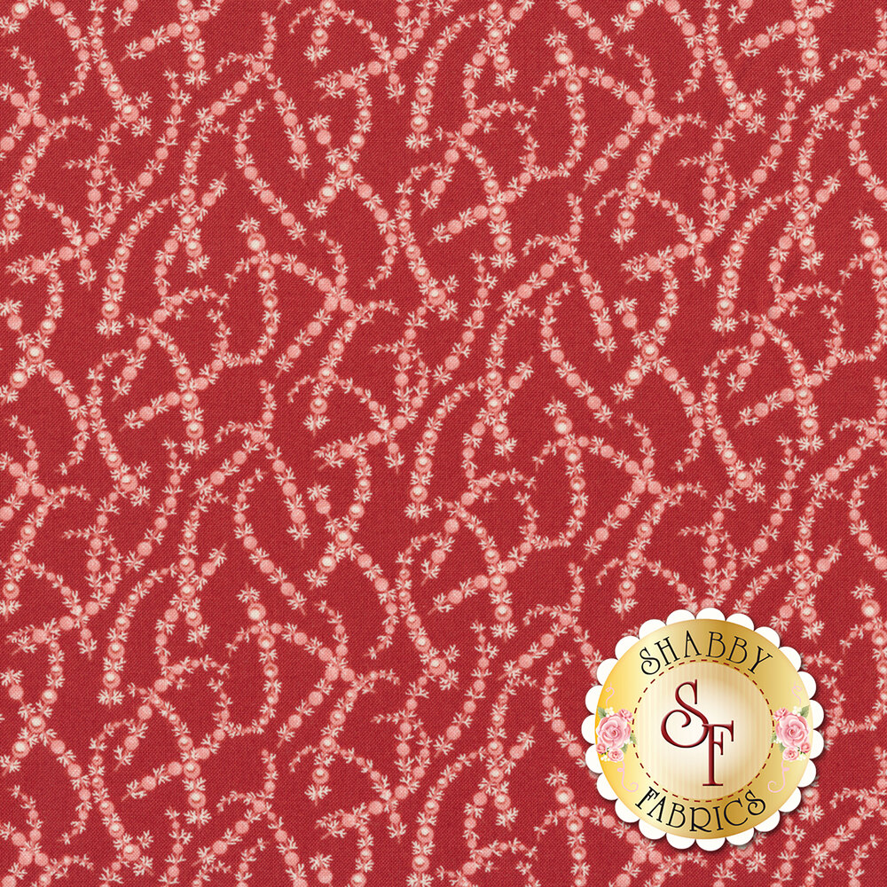 Red fabric with tossed tonal pink garland | Shabby Fabrics