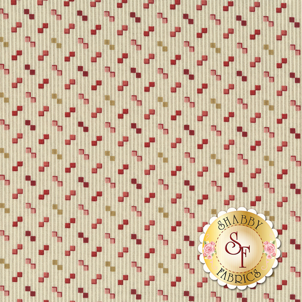 Alternating geometric red and greeb shapes on a tan background with grey stripes | Shabby Fabrics