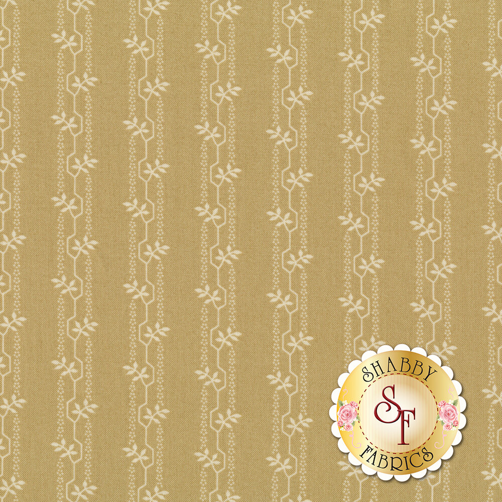 Geometric striped vines with leaves on a greige background   Shabby Fabrics