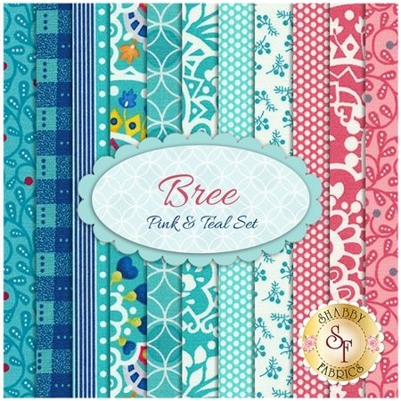Bree  11 FQ Set  - Pink & Teal Set by Nancy Halvorsen for Benartex Fabrics
