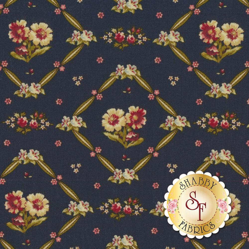 Bricolage 98646-473 Floral Trellis Navy by Wilmington Prints